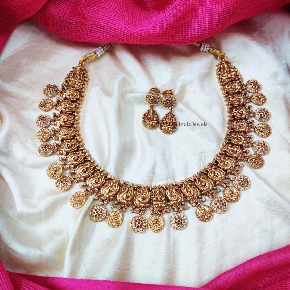 Classic Lakshmi & Peacock Design Necklace