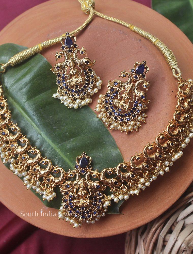 Cute Peacock & Lakshmi Design Necklace (2)