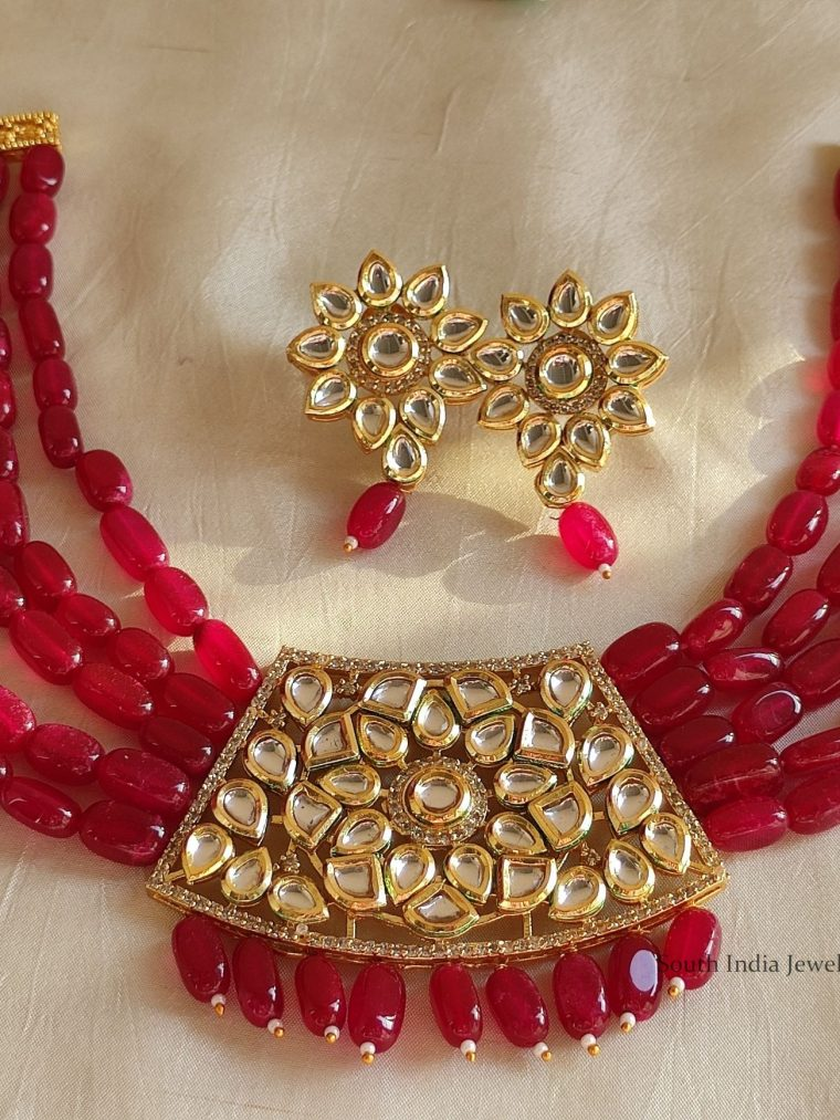 Cute Pink Beads Kundan Necklace