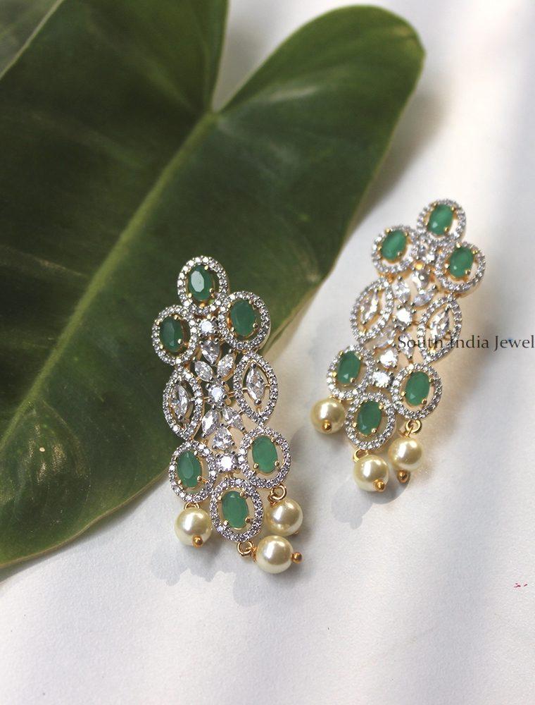Elegant AD White & Green Earrings