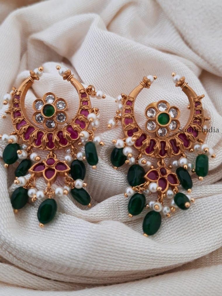 Elegant Chandbali Kemp Stone Earrings