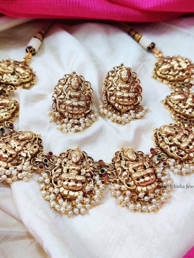 Elegant Lakshmi Necklace with Pearl (2)