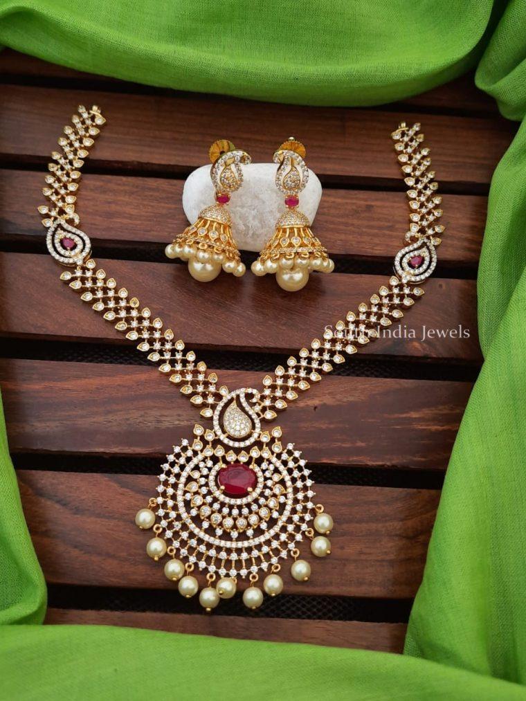 Elegant Mango Pendant CZ Stone Necklace