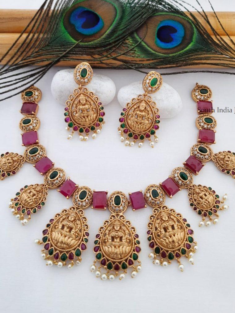 Elegant Matte Finish Lakshmi Necklace