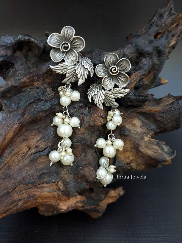 German Silver Flower Design Earrings