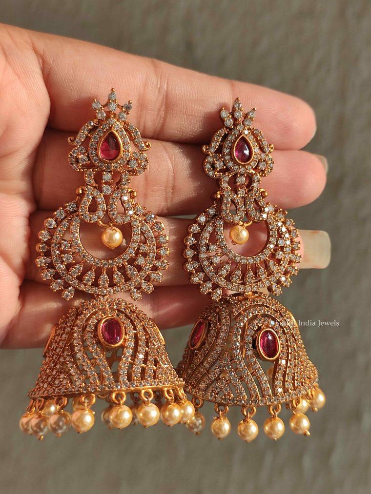 Gorgeous AD Stone Bridal Jhumkas
