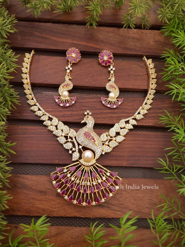 Gorgeous CZ Stone Necklace with Peacock Pendant