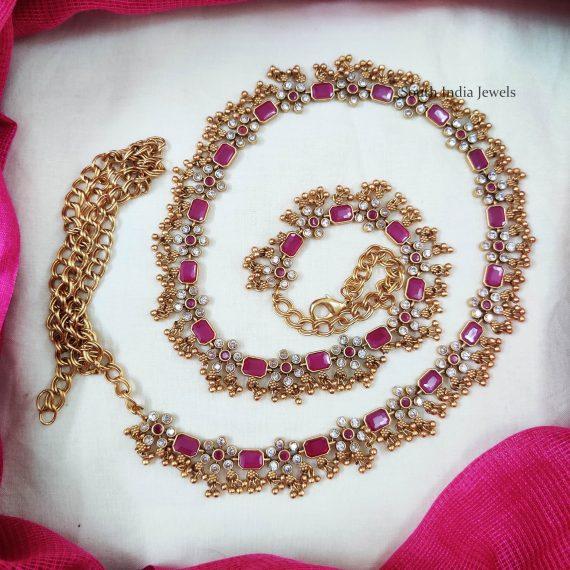 Gorgeous Golden Beads Pink Hipbelt