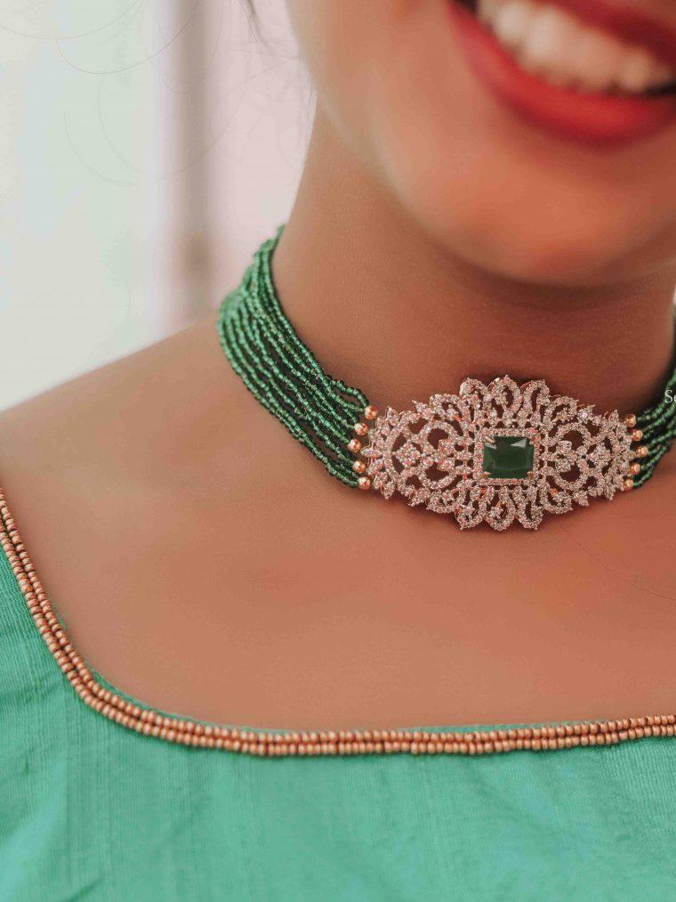 Gorgeous Green Beads Choker (3)
