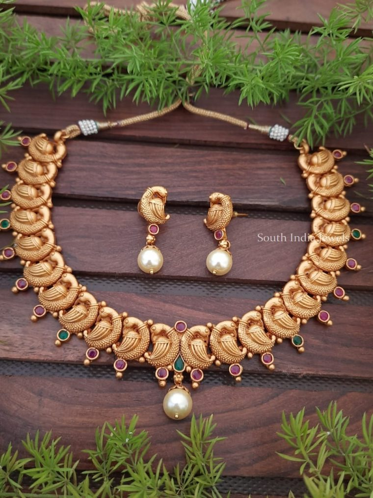 Gorgeous Matte Gold Peacock Necklace