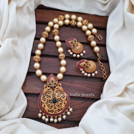 Gorgeous Pearl Necklace With Peacock Pendant