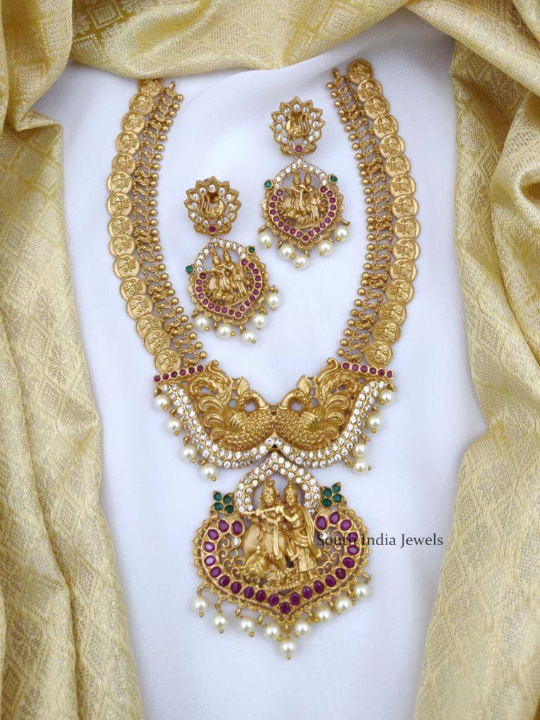 Gorgeous Radha Krishna Peacock Coin Necklace