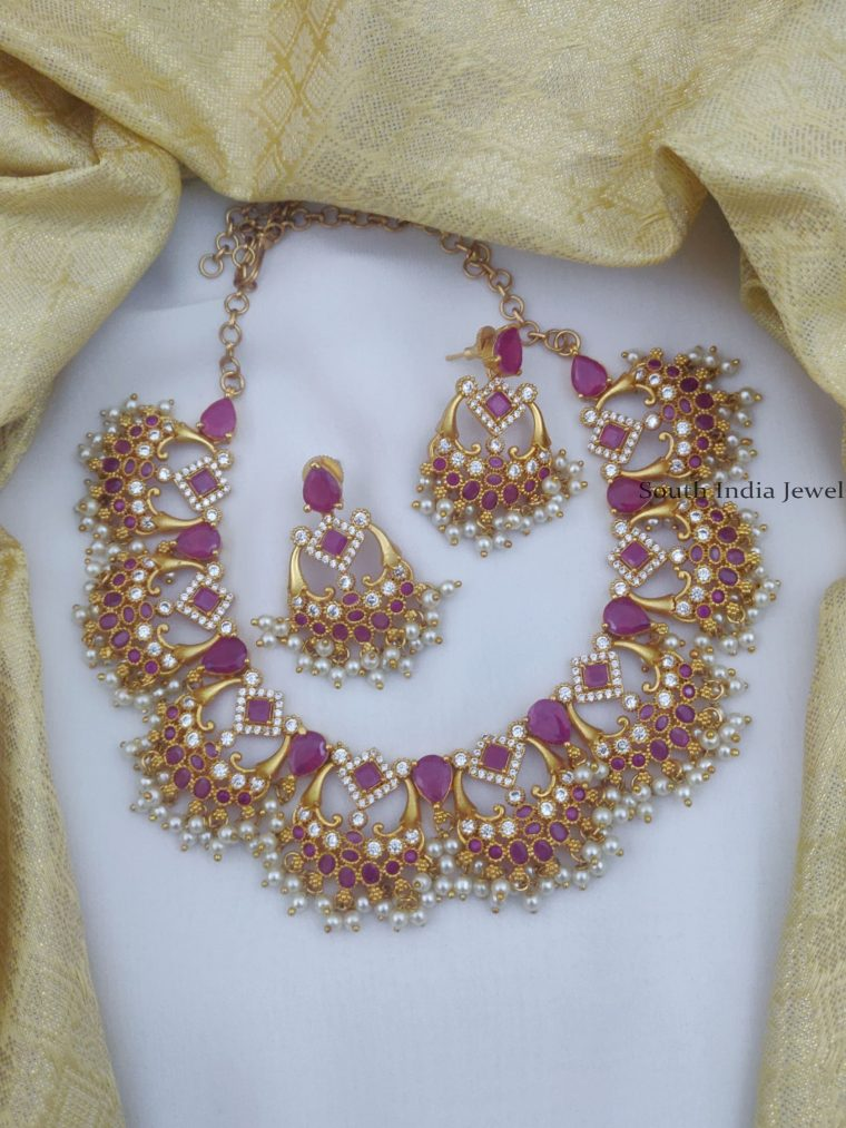 Gorgeous Ruby & White AD Necklace