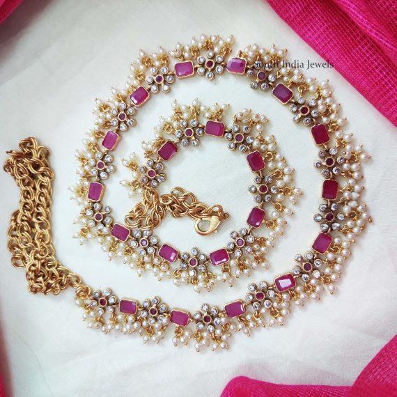 Grand Pearl Beads Pink Hipbelt