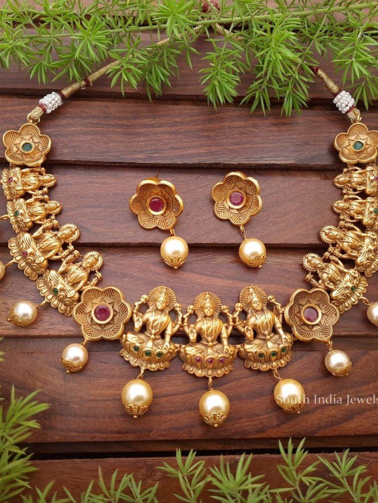 Matte Finish Lakshmi Necklace Set
