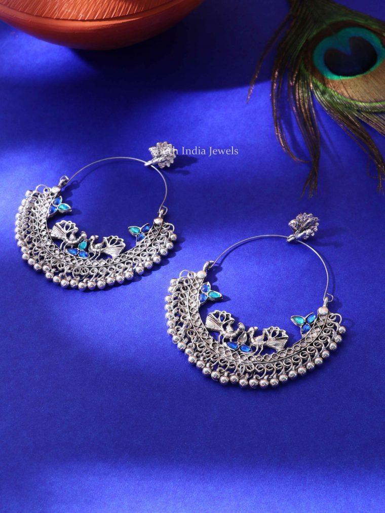 Peacock Blue Stone Hoop Earrings (2)