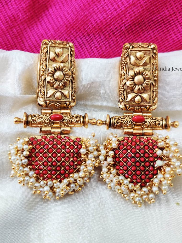 Pretty Coral Red Designer Earrings