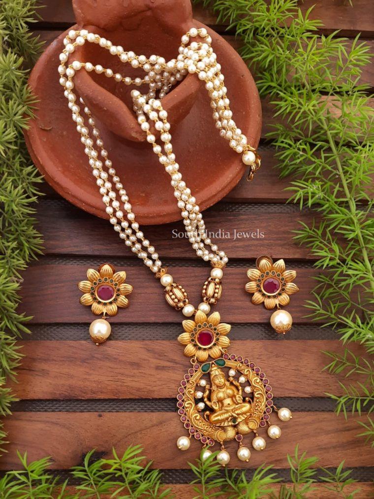 Pretty Lakshmi Pendant Pearl Cluster Haram