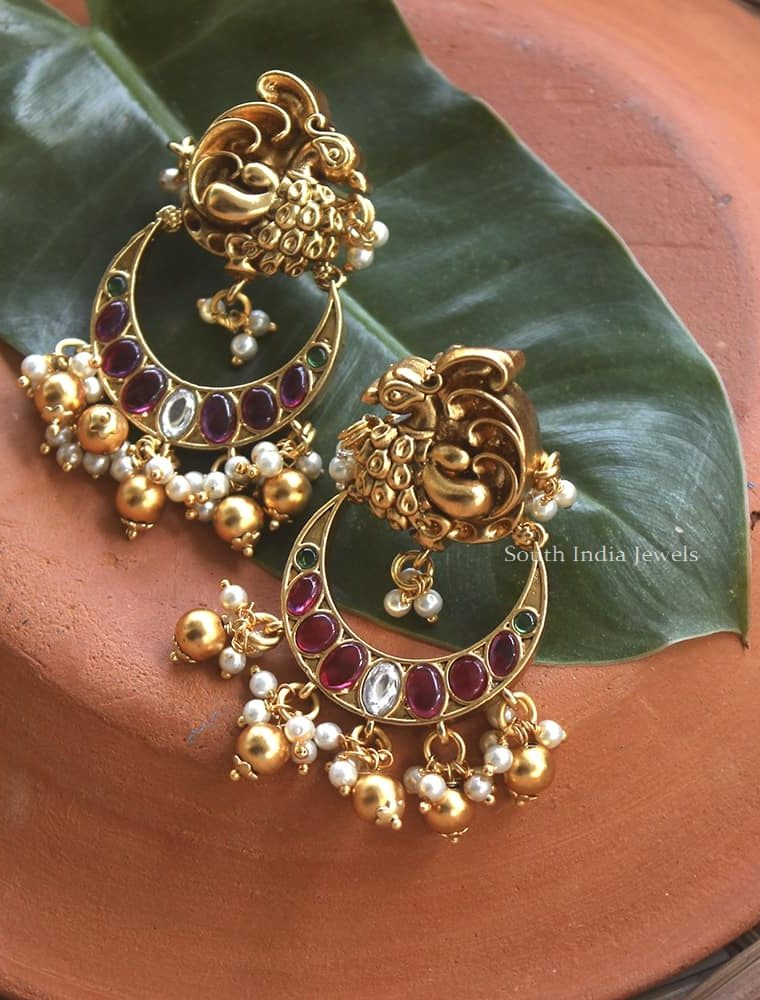 Pretty Peacock Design Earrings