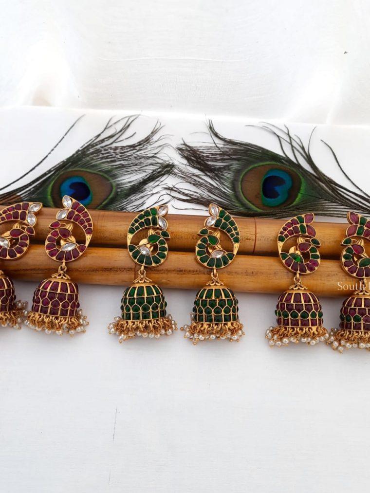 Pretty Peacock Design Jhumkas