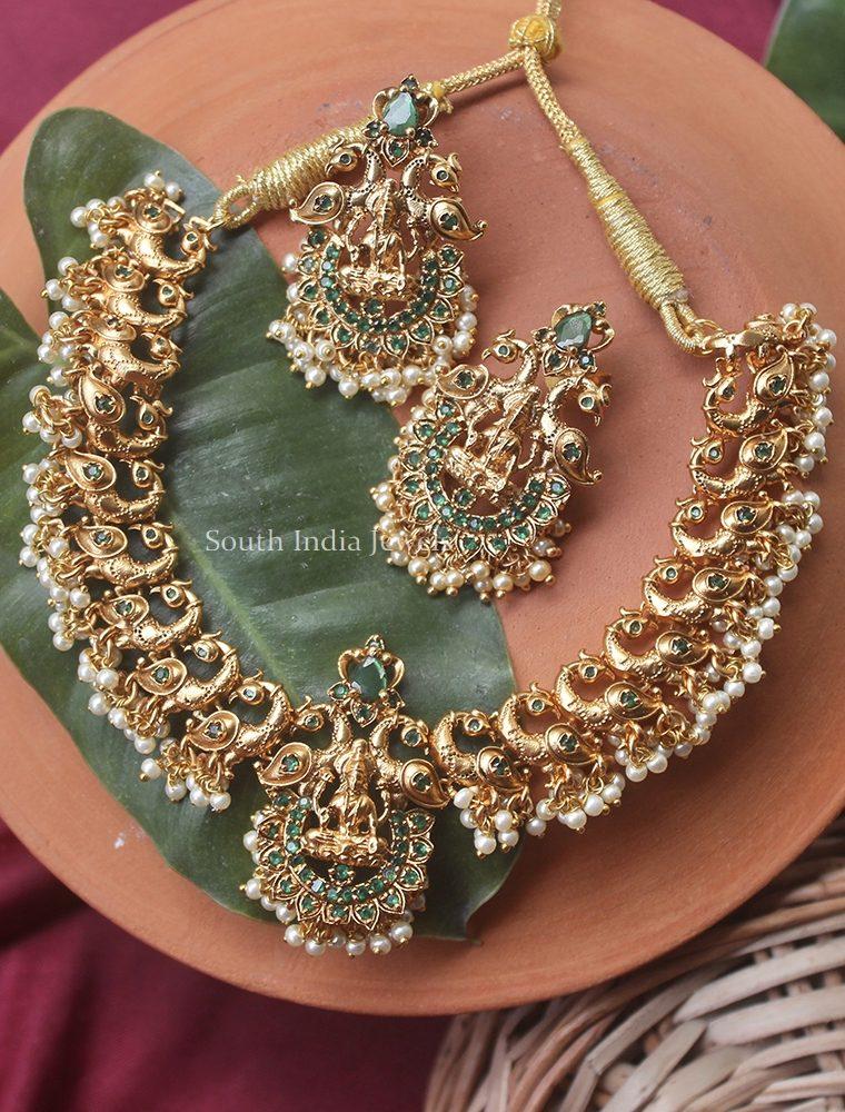 Pretty Peacock & Lakshmi Design Necklace (3)