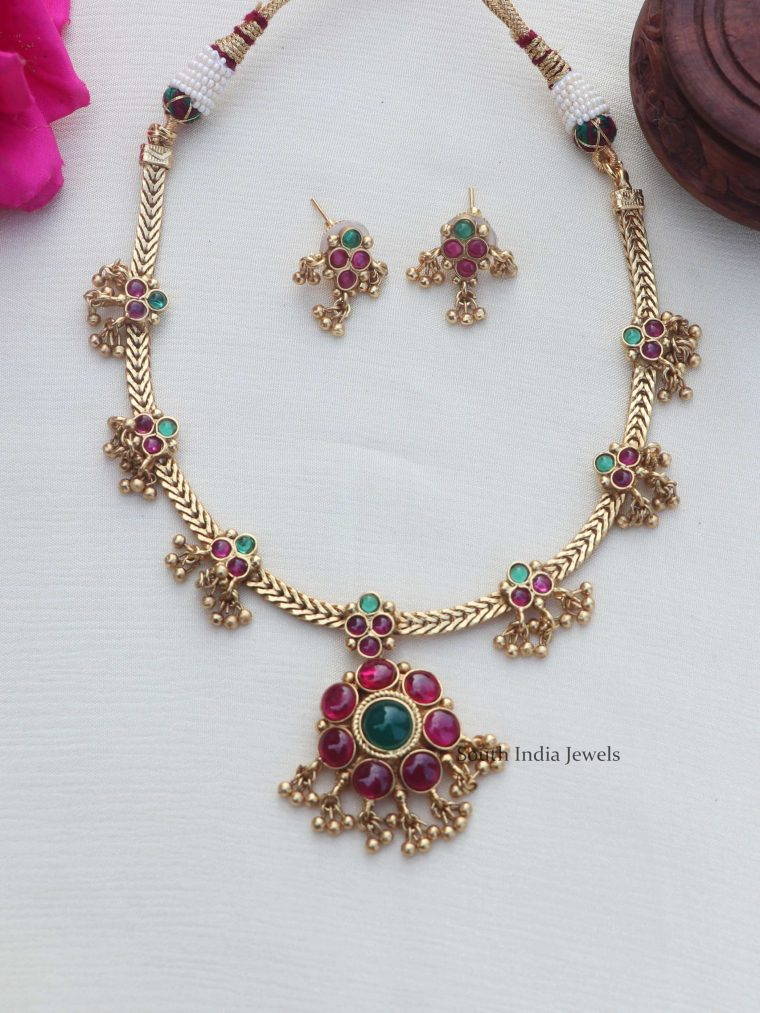 Pretty Ruby Gold Finish Necklace (2)