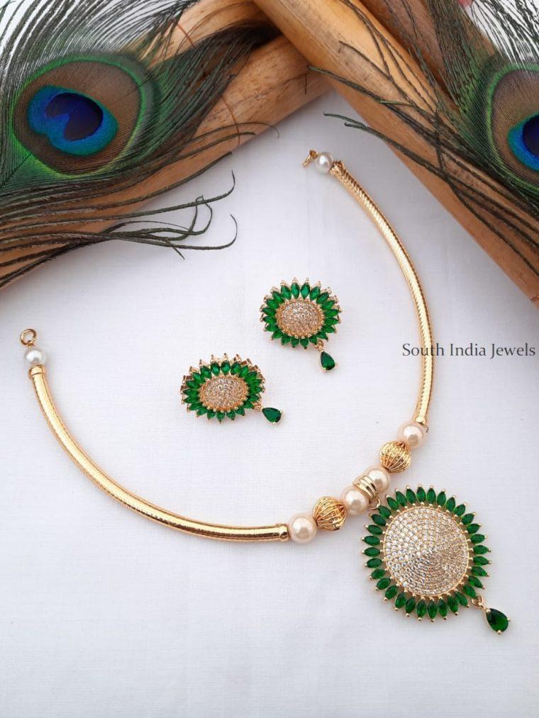 Simple CZ Stone Pendant Pipe Necklace