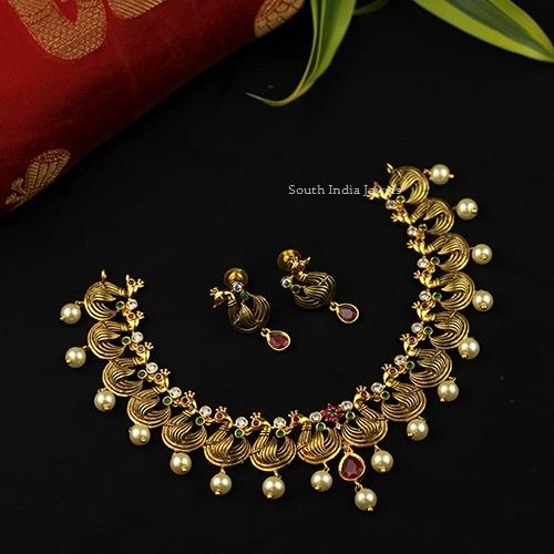 Simple Peacock Design Necklace
