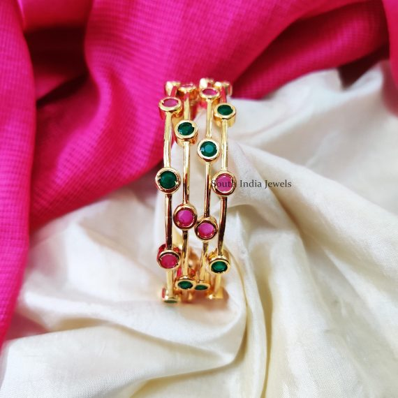 Simple Pink & Green Stone Bangles (2)