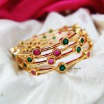 Simple Pink & Green Stone Bangles (3)