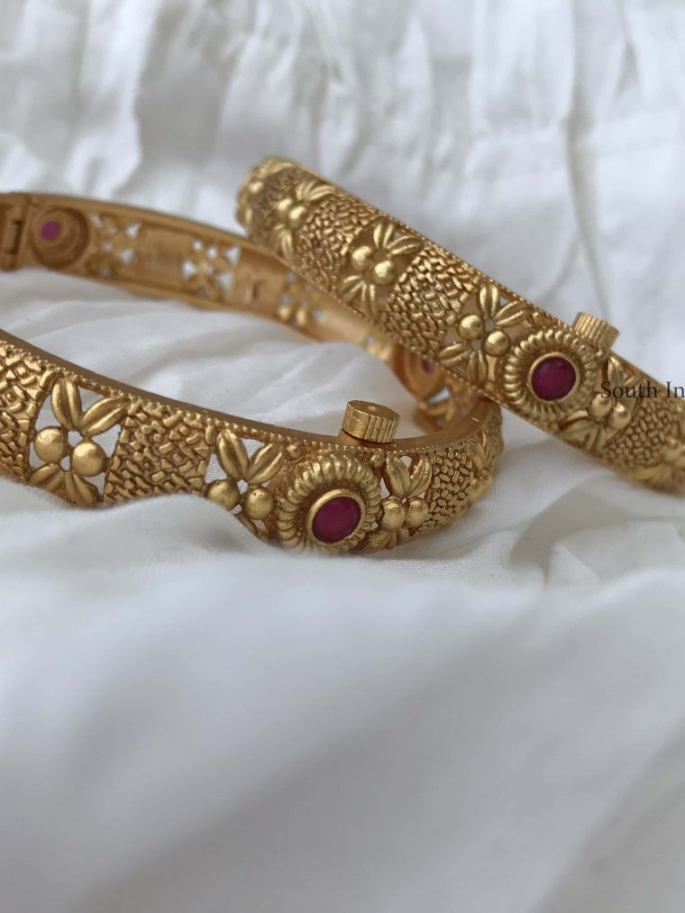 Simple Ruby Gold Plated Bangle