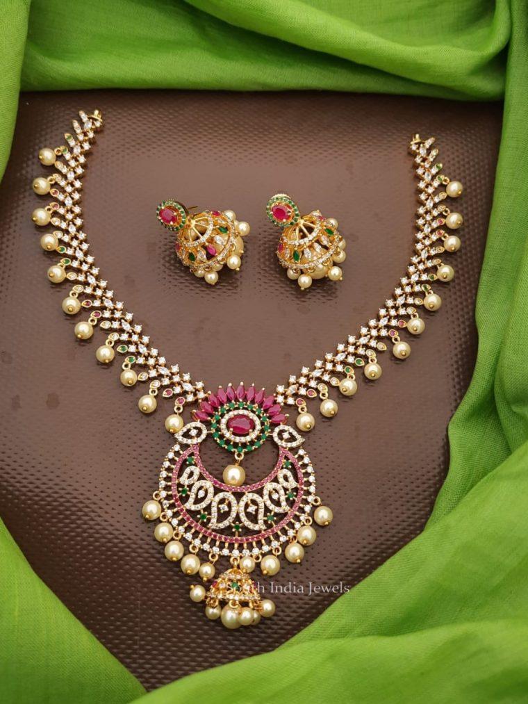 Stunning Flower Design CZ Stone Necklace
