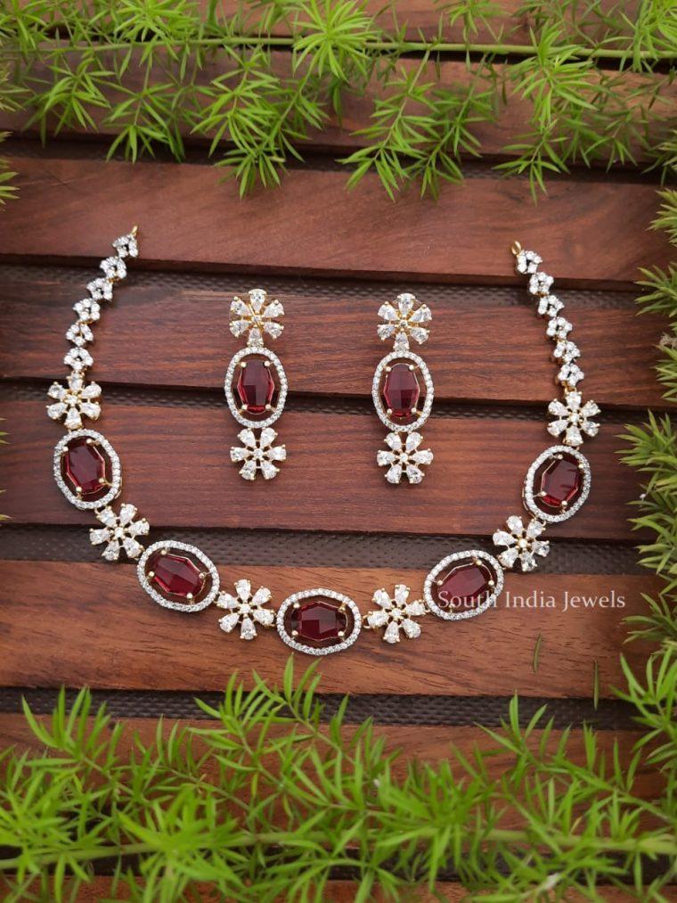 Stunning Flower Design CZ Stone Necklace Set