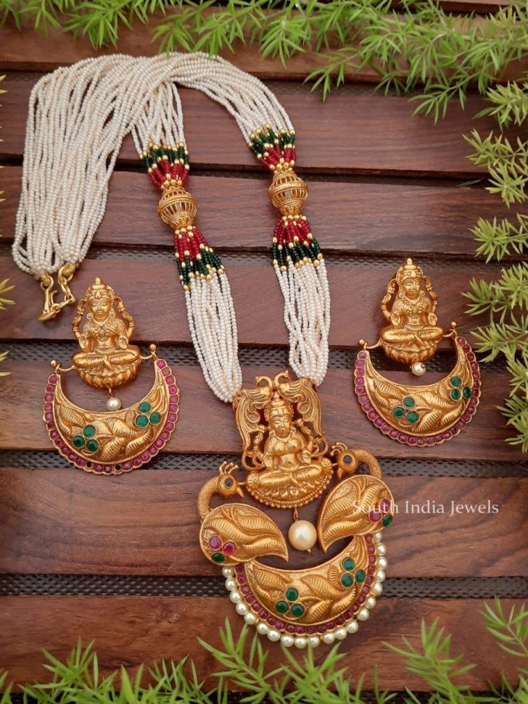 Stunning Seed Bead Haaram with Lakshmi Pendant