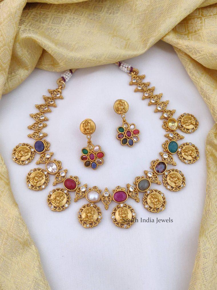 Temple Lakshmi Navarathna Necklace