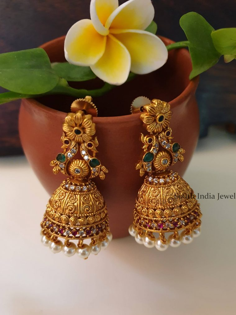 Traditional Floral Design Peacock Jhumka