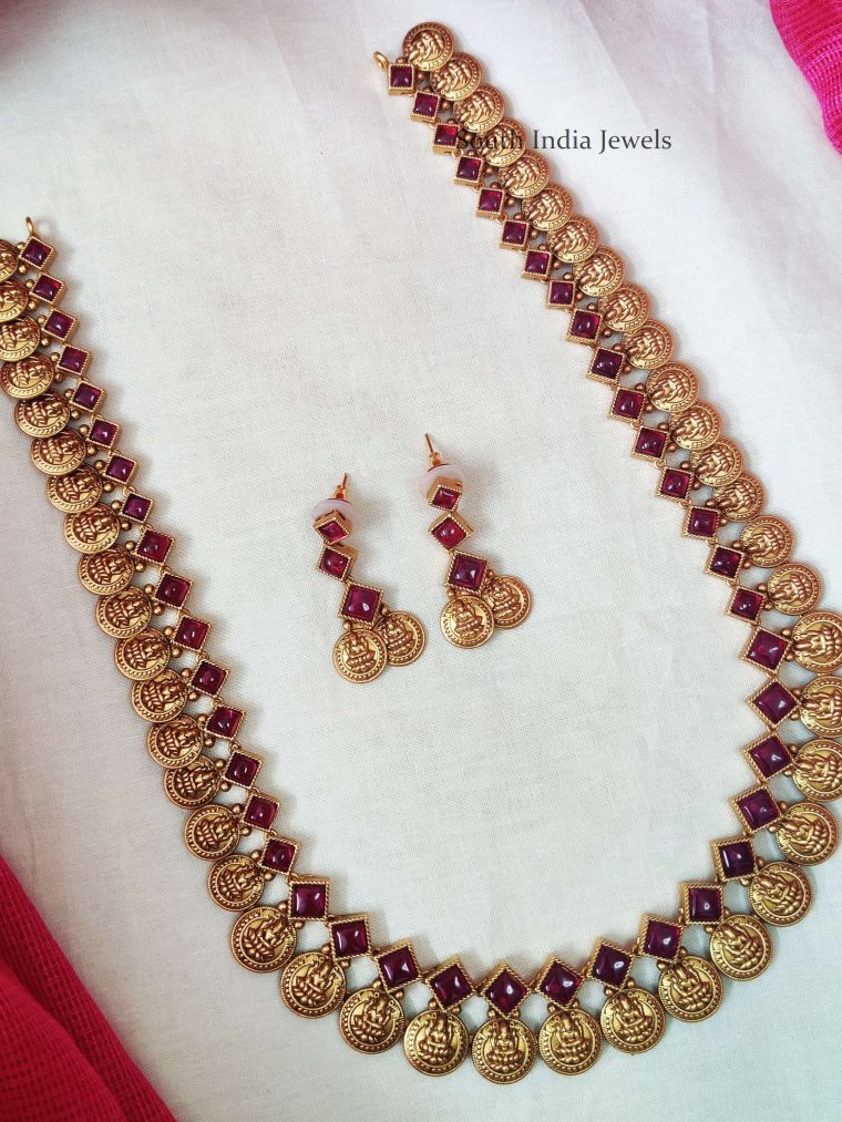 Traditional Kemp Stone Lakshmi Coin Haram