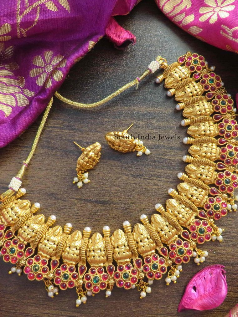 Traditional Mahalakshmi Red & Green Stone Necklace