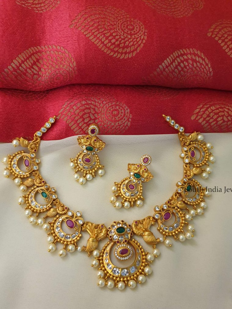 Traditional Matte Finish Chandbali Necklace