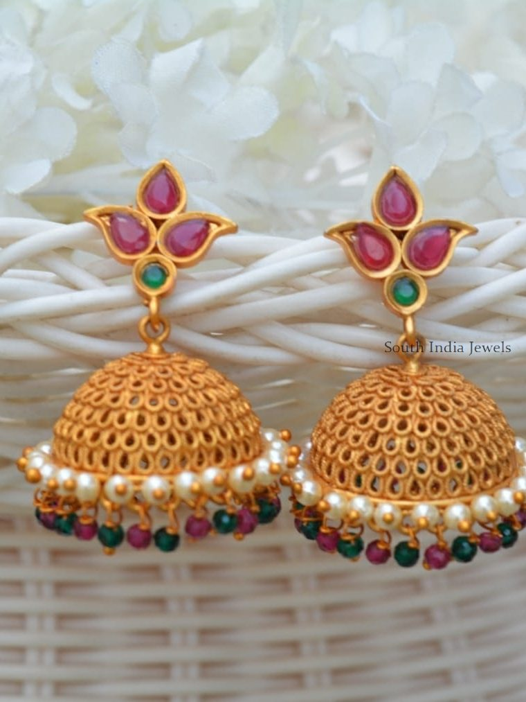 Traditional Matte Finish Multi Beads Jhumkas