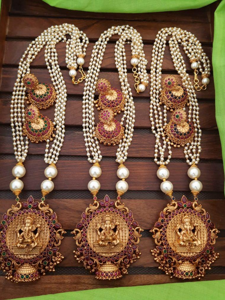 Traditional Pearl Cluster Haaram