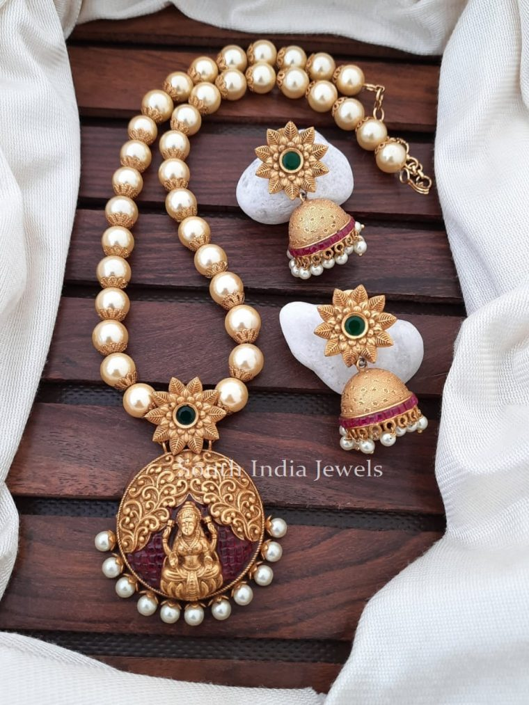 Traditional Pearl Necklace With Lakshmi Pendant