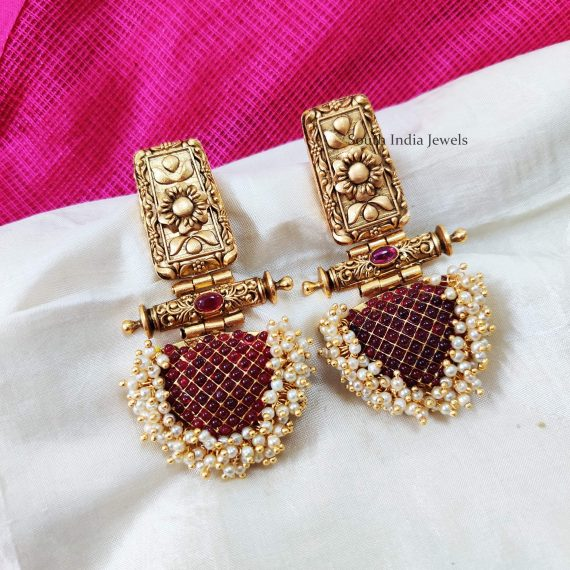 Traditional Pink Stone Designer Earrings