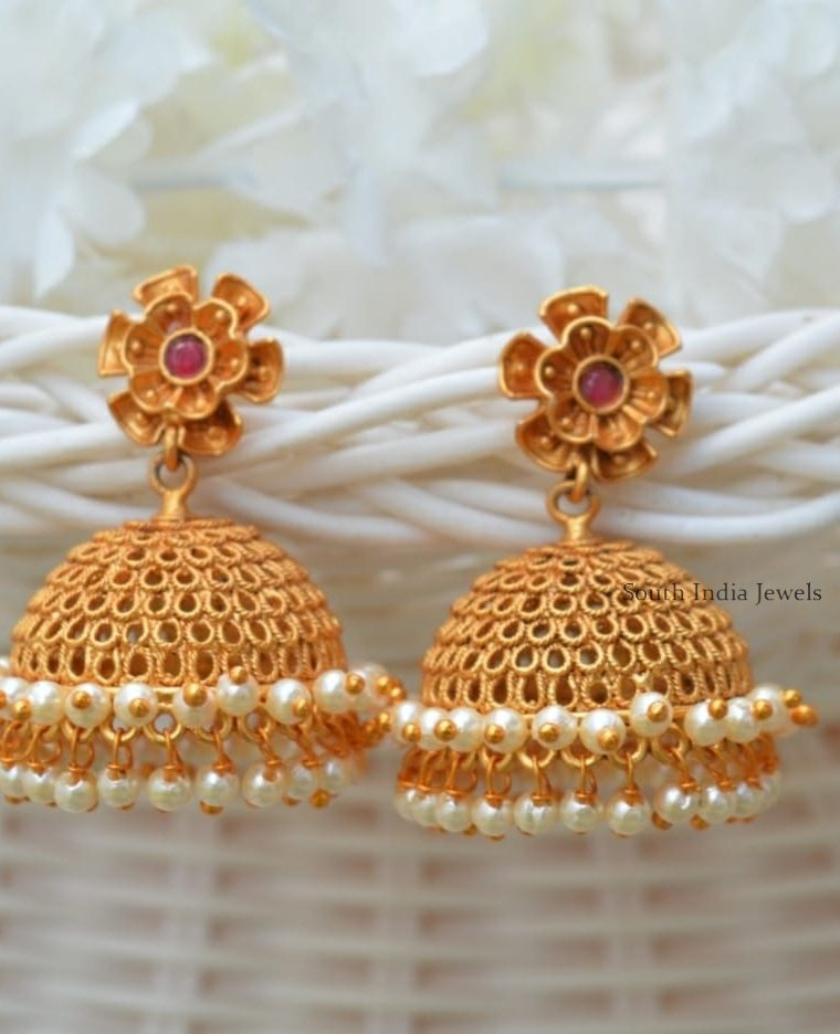 Trendy Flower Design Matte Jhumkas