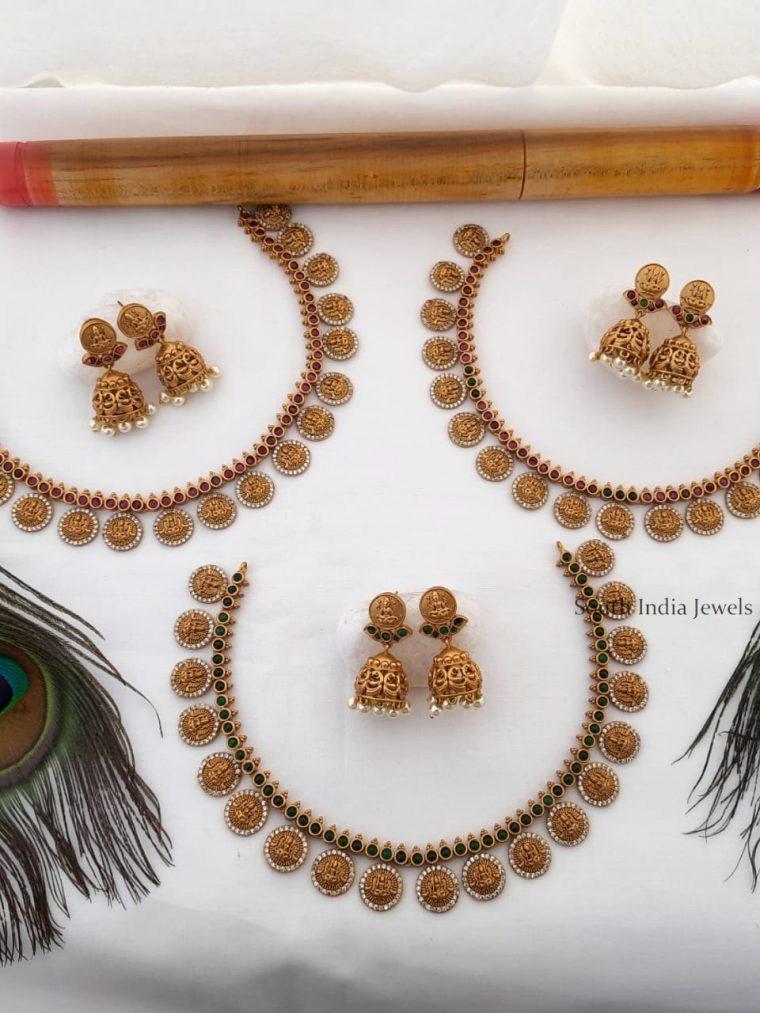 Trendy Matte Gold Lakshmi Coin Necklace