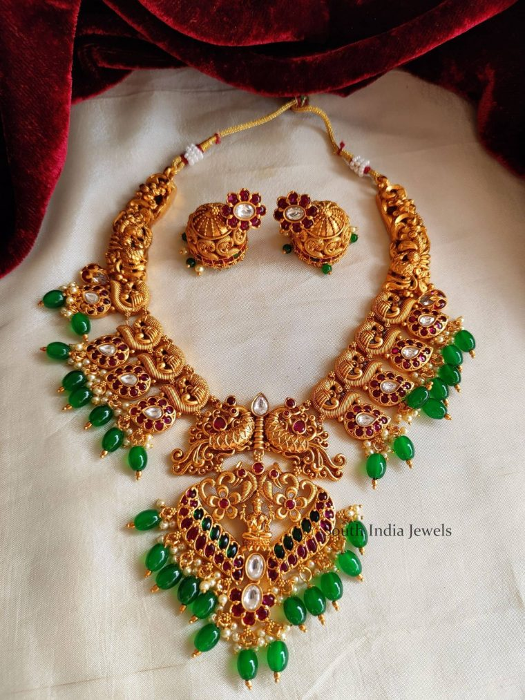 Trendy Peacock Design Green Beads Necklace