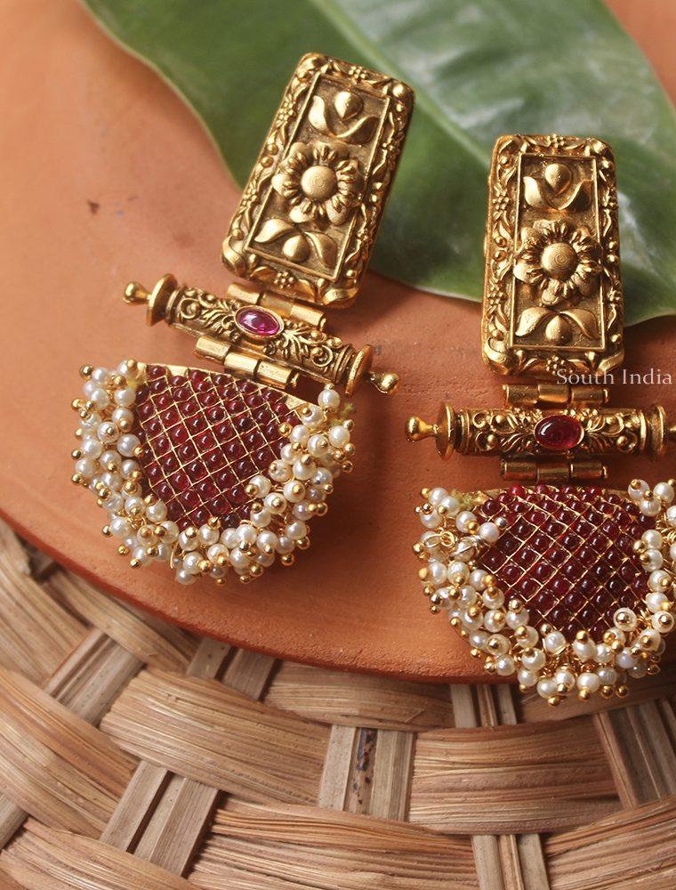 Trendy Polki Stone Pearl Earrings