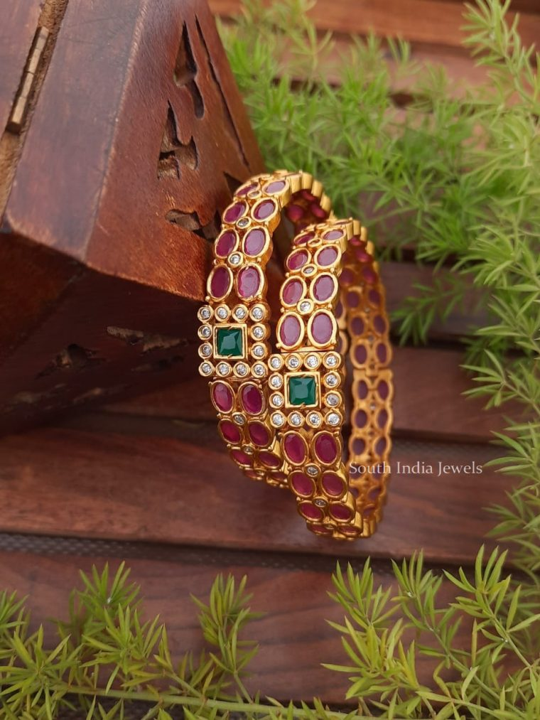 Trendy Ruby & Emerald Stone Bangles
