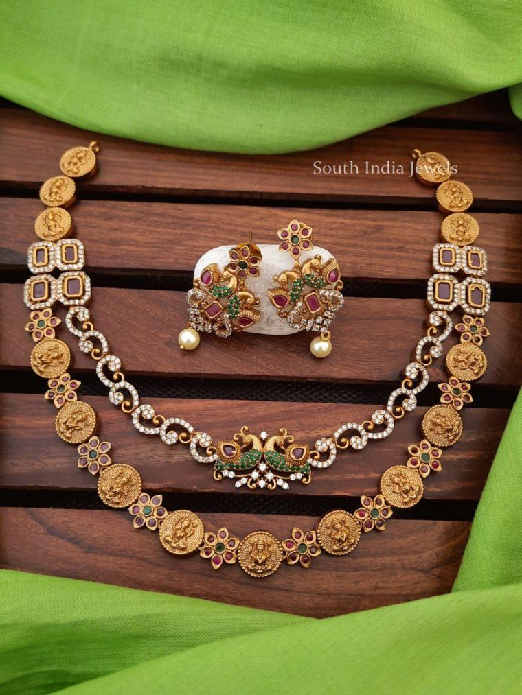 Two Layer Matte Finish Lakshmi Coin Necklace