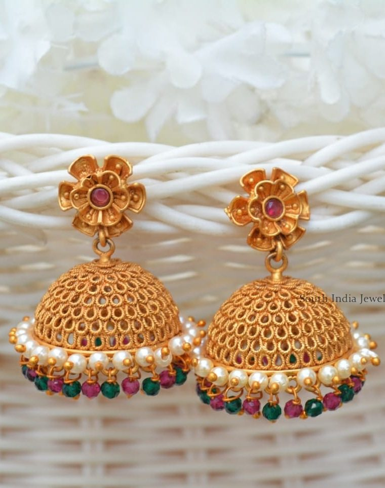 Unique Flower Design Multi Beads Jhumkas